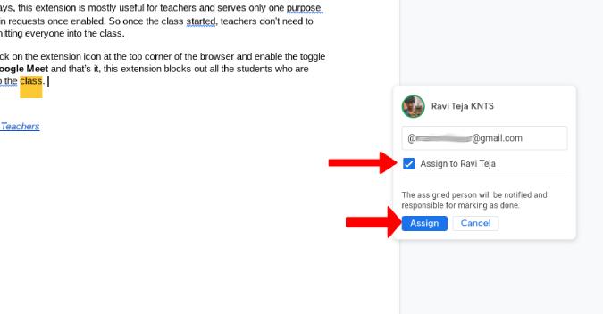 Giao nhiệm vụ trong Google Tài liệu