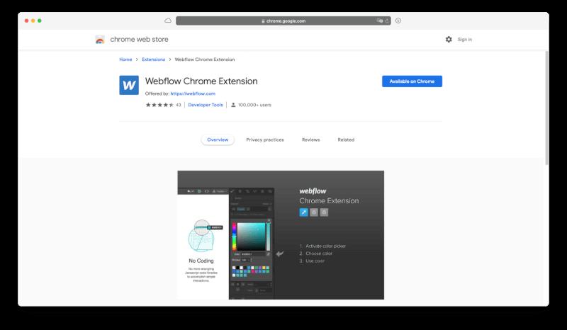 Tiện ích mở rộng Webflow Chrome