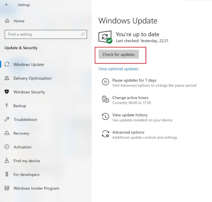 Nhấp vào Kiểm tra các bản cập nhật từ khung bên phải    Sửa mã lỗi Destiny 2 Broccoli trên Windows 10