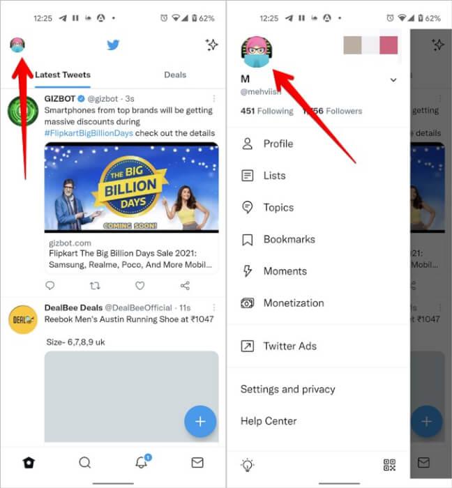 Tên Twitter Chỉnh sửa Hồ sơ Di động