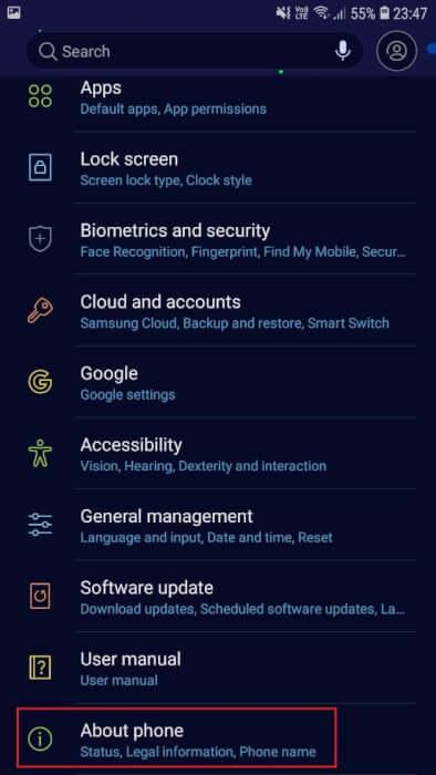 Tiếp theo, chọn Giới thiệu về điện thoại | Kiểm tra Số sê-ri Lenovo