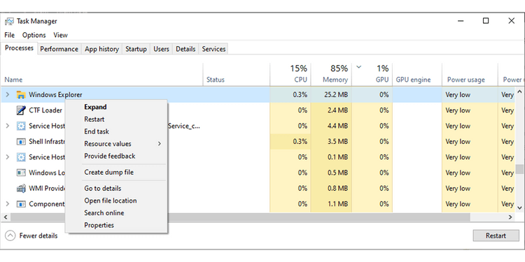 Trình quản lý tác vụ trong Windows 10
