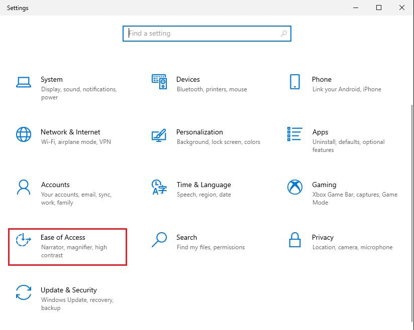 Khởi chạy Cài đặt và điều hướng đến Quyền truy cập dễ dàng