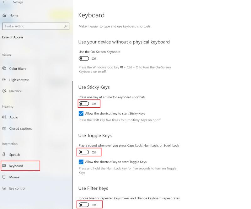 Tắt công tắc để Sử dụng Phím cố định, Sử dụng Phím chuyển đổi và Sử dụng phím Bộ lọc    18 cách tối ưu hóa Windows 10 để chơi game