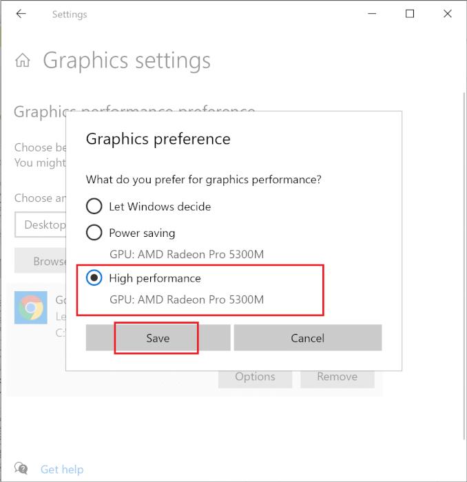 Chọn Hiệu suất cao từ các tùy chọn được liệt kê.  Sau đó, nhấp vào Lưu.  Làm thế nào để Tối ưu hóa Windows 10 cho Trò chơi và Hiệu suất?