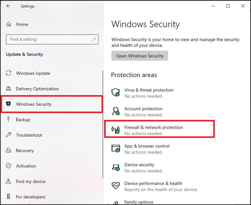 Chọn tùy chọn Bảo mật Windows từ ngăn bên trái và nhấp vào Tường lửa & bảo vệ mạng