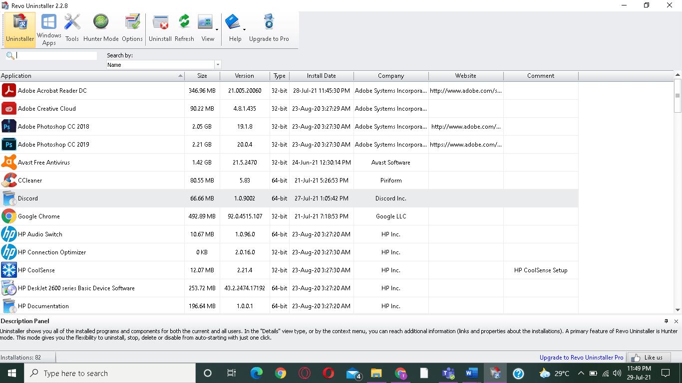 chọn chương trình và nhấp vào Gỡ cài đặt từ thanh menu trên cùng