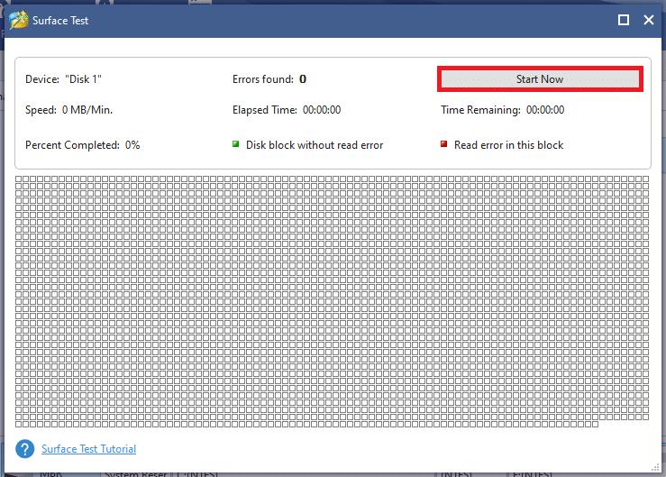 Cửa sổ Surface Test hiện đang mở.  Nhấp vào nút Bắt đầu ngay bây giờ