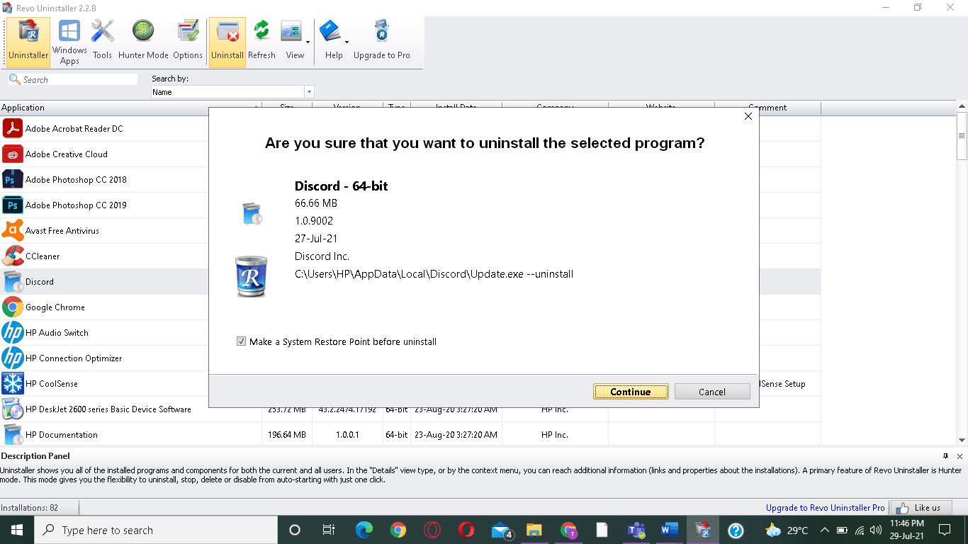 Nhấp vào Tiếp tục để xác nhận gỡ cài đặt.  cách khắc phục Lỗi Hamachi Tunnel trong Windows 10