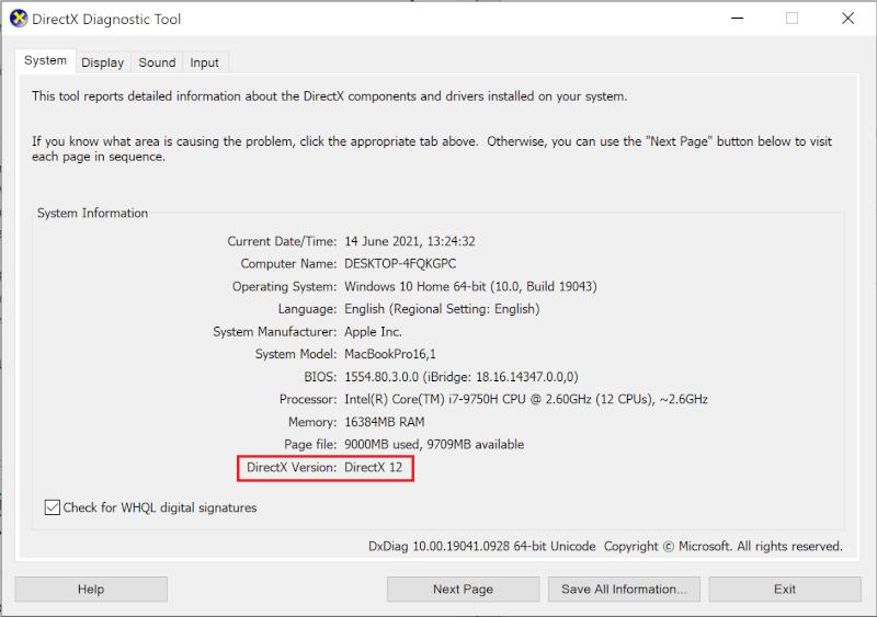 Kiểm tra phiên bản DirectX để tải xuống.  Làm thế nào để Tối ưu hóa Windows 10 cho Trò chơi và Hiệu suất?