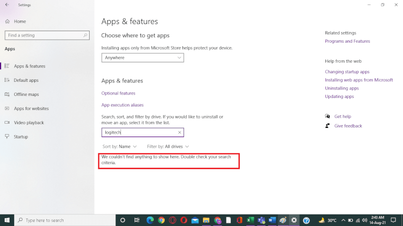 ứng dụng không thể tìm thấy
