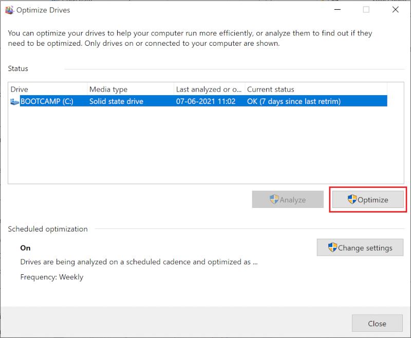 Nhấp vào Tối ưu hóa.  Làm thế nào để Tối ưu hóa Windows 10 cho Trò chơi và Hiệu suất?