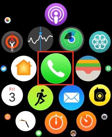 khởi chạy ứng dụng Điện thoại trên Apple Watch