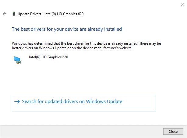 """Bây giờ, các trình điều khiển sẽ được cập nhật lên phiên bản mới nhất nếu chúng không được cập nhật.  Nếu chúng đã ở giai đoạn cập nhật, màn hình hiển thị, """"Windows đã xác định rằng trình điều khiển tốt nhất cho thiết bị này đã được cài đặt.  Có thể có các trình điều khiển tốt hơn trên Windows Update hoặc trên trang web của nhà sản xuất thiết bị """"."""