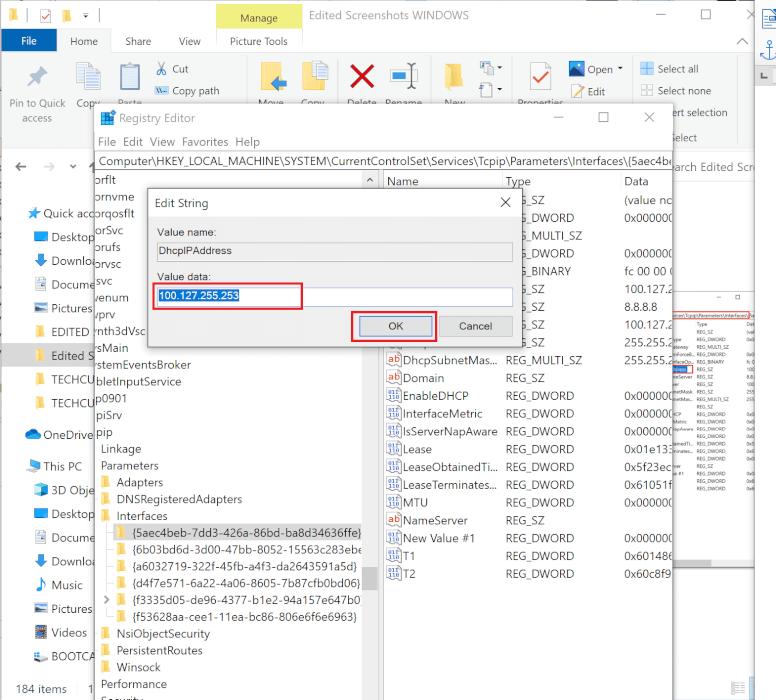 Thay thế giá trị được ghi trong Dữ liệu giá trị bằng địa chỉ IP, sau đó nhấp vào Ok.