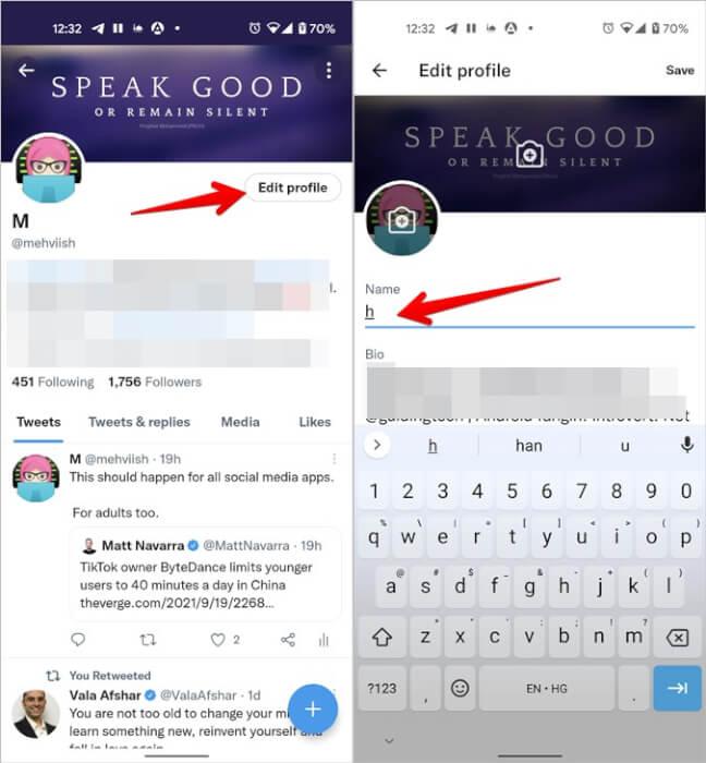 Tên Twitter Thay đổi Chỉnh sửa Hồ sơ Di động
