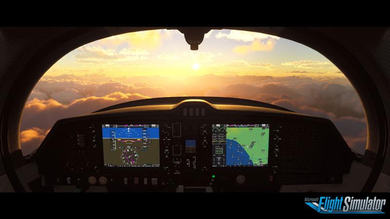 Hình ảnh chụp màn hình từ Microsoft Flight Simulator 2020 từ bên trong buồng lái nhìn ra những đám mây trong giờ vàng