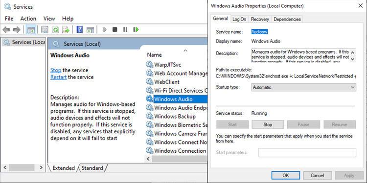 Menu dịch vụ trong Windows 10