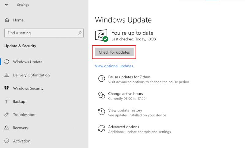 Kiểm tra các bản cập nhật Windows.  Khắc phục Command Prompt Xuất hiện rồi Biến mất trên Windows 10