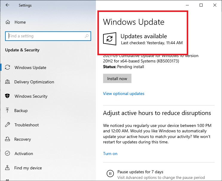 Cài đặt bản cập nhật Windows.  Khắc phục Command Prompt Xuất hiện rồi Biến mất trên Windows 10