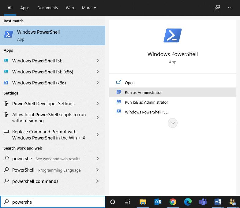 Tìm kiếm Windows PowerShell và chạy với tư cách quản trị viên.  Khắc phục Command Prompt Xuất hiện rồi Biến mất trên Windows 10