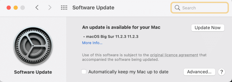 Cập nhật bây giờ.  Sửa máy Mac không hoạt động