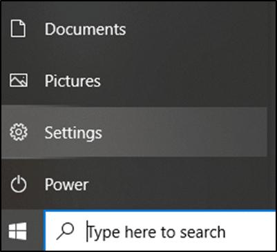 Nhấn vào biểu tượng Windows và chọn tùy chọn Cài đặt