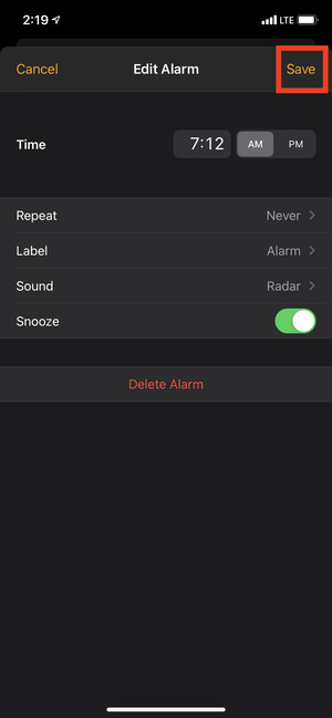 Nhấn vào Lưu để đảm bảo báo thức kêu trên iPhone