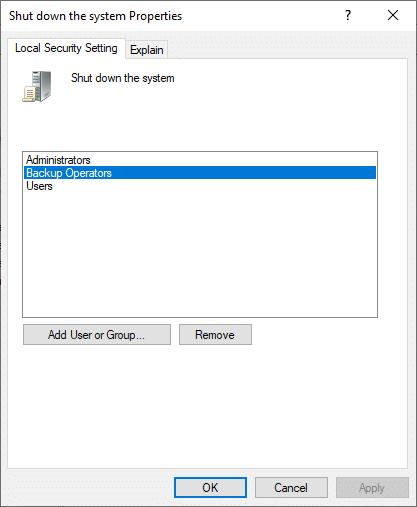 Bây giờ, Tắt các thuộc tính hệ thống sẽ bật lên trên màn hình.  Tiếp theo, nhấp vào Toán tử dự phòng, sau đó là Thêm người dùng hoặc nhóm…
