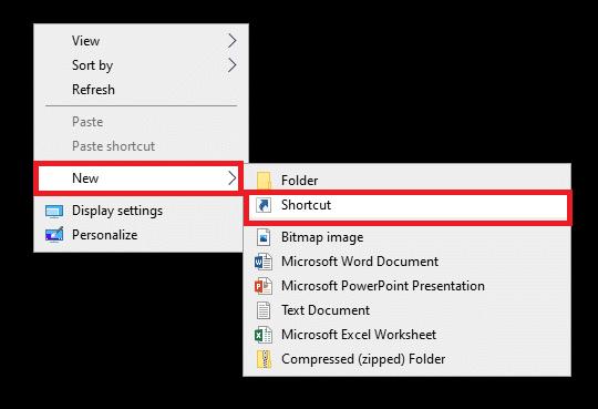Nhấp vào Mới và chọn Lối tắt Sửa lỗi Command Prompt Xuất hiện rồi Biến mất trên Windows 10