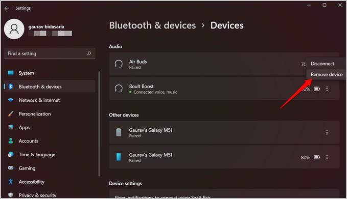 xóa thiết bị bluetooth khỏi cài đặt windows 11