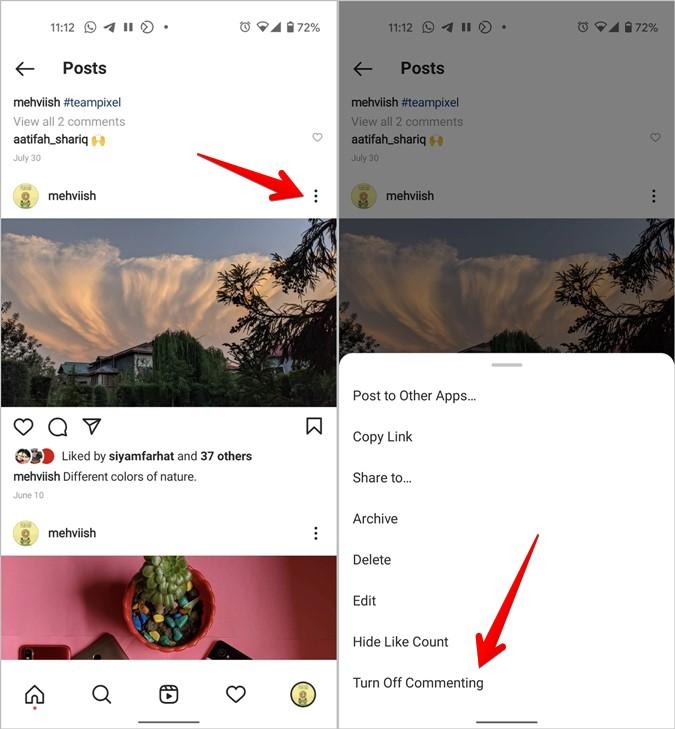 Instagram Tắt nhận xét