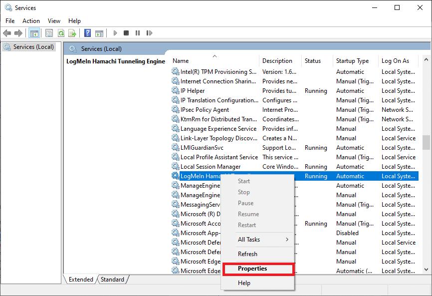 Bây giờ, hãy nhấp vào LogMeIn Hamachi Tunneling Engine Properties Cách khắc phục Lỗi Hamachi Tunnel trên Windows 10