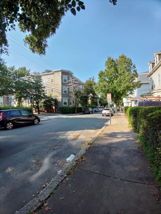 Ảnh chụp đường phố cho thấy các tòa nhà, cây cối và ô tô đang đỗ từ Kyocera Duraforce Ultra