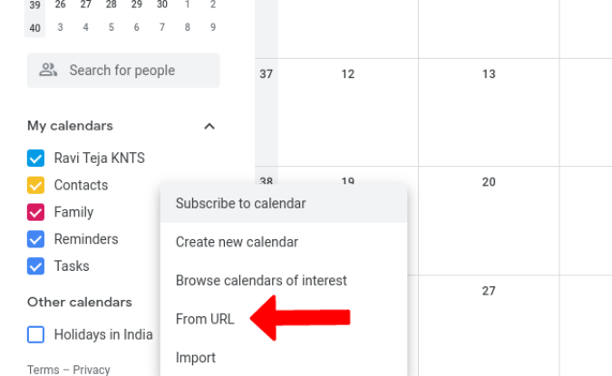 Thêm lịch mới từ URL trên Lịch Google