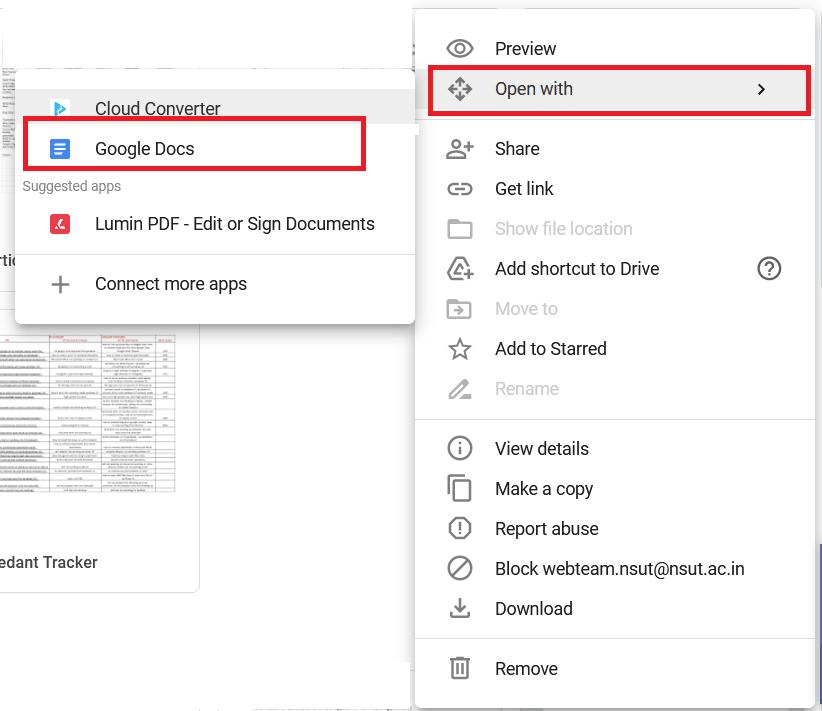 Google Drive Mở bằng Google Tài liệu