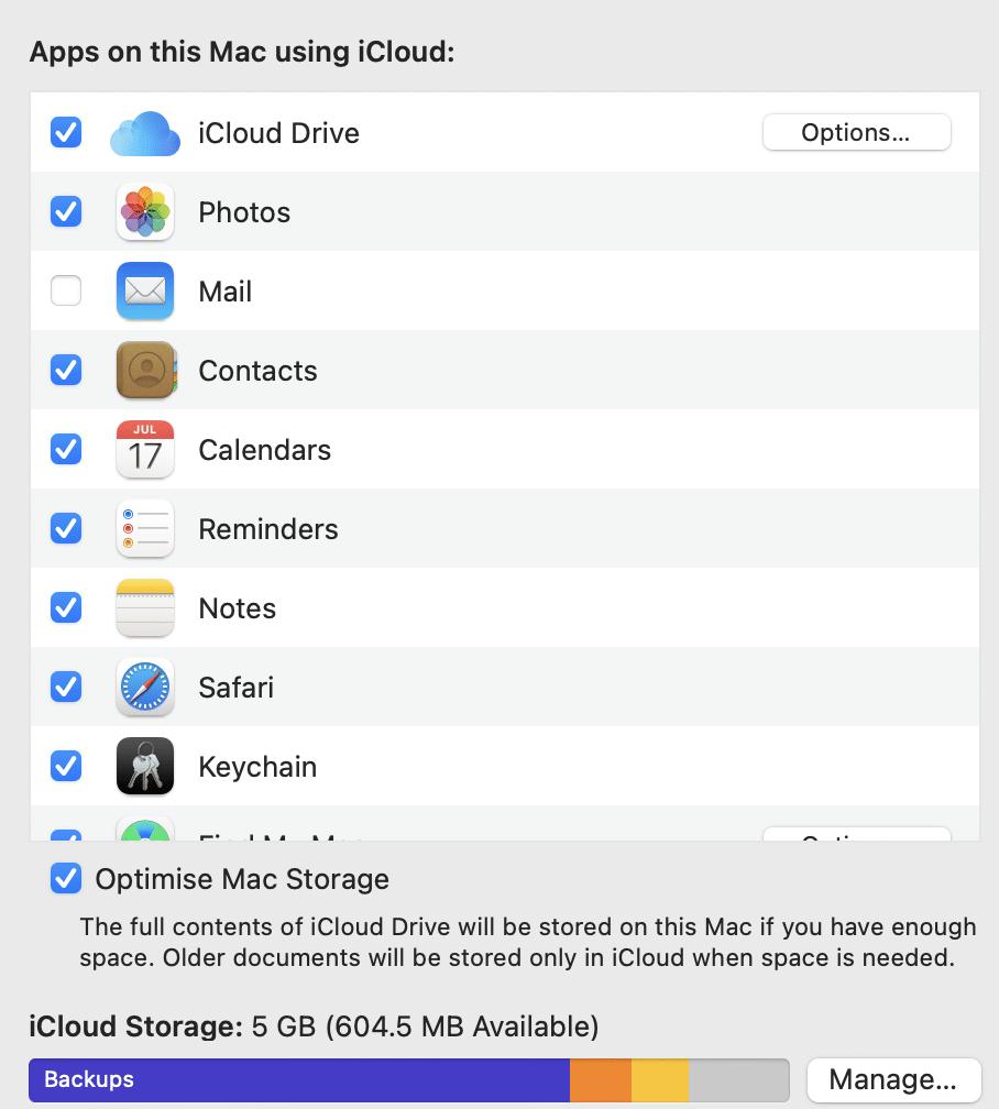 Chọn iCloud và bỏ chọn hộp gần Tin tức.  macOS Big Sur Sự cố