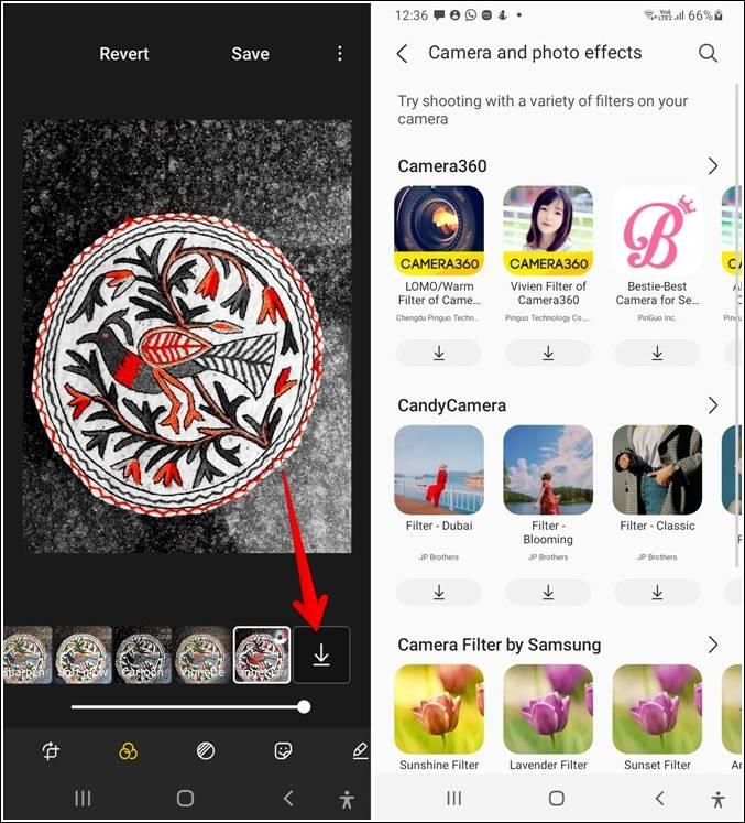 tùy chọn bộ lọc ứng dụng Samsung Gallery