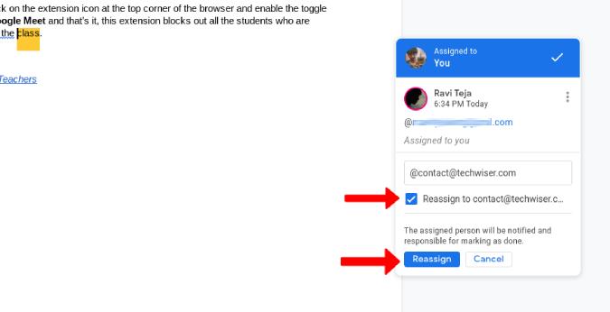 Giao lại công việc trên Google Tài liệu