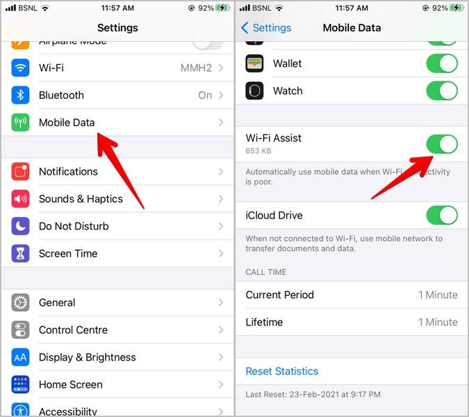 iPhone Tắt Hỗ trợ Wi-Fi