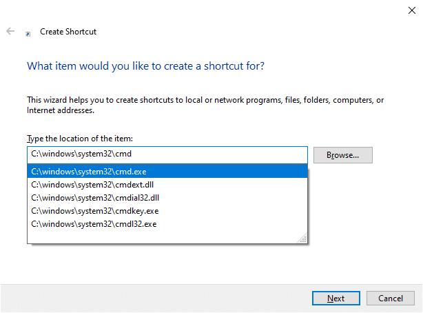 Chọn C: \ windows \ system32 \ cmd.exe từ menu thả xuống.  Khắc phục Command Prompt Xuất hiện rồi Biến mất trên Windows 10