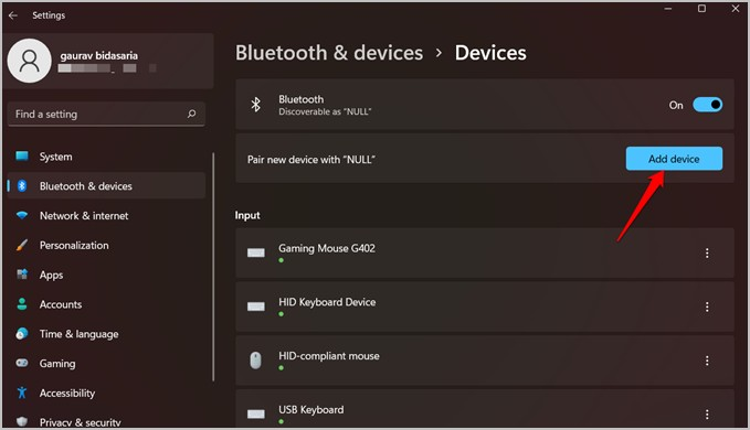 thêm thiết bị bluetooth mới trong windows 11
