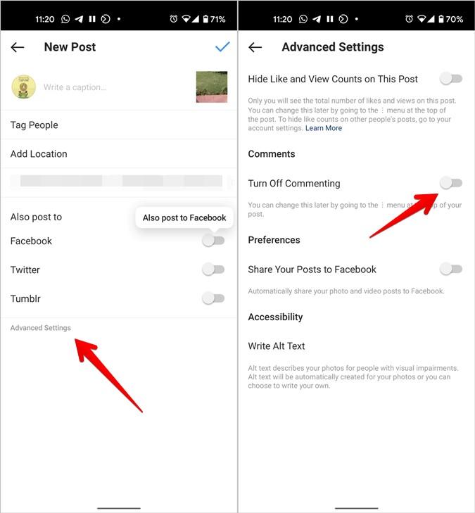 Instagram Tắt nhận xét trước khi đăng