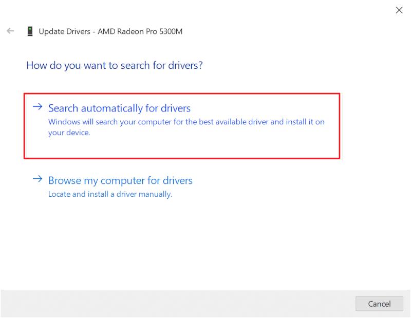 nhấp vào Tự động tìm kiếm phần mềm trình điều khiển được cập nhật.  Sửa mã lỗi Destiny 2 Broccoli trên Windows 10
