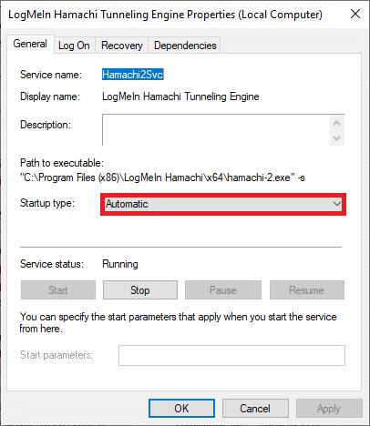 Bây giờ, hãy đặt kiểu Khởi động thành Tự động    Cách khắc phục Lỗi Hamachi Tunnel trên Windows 10