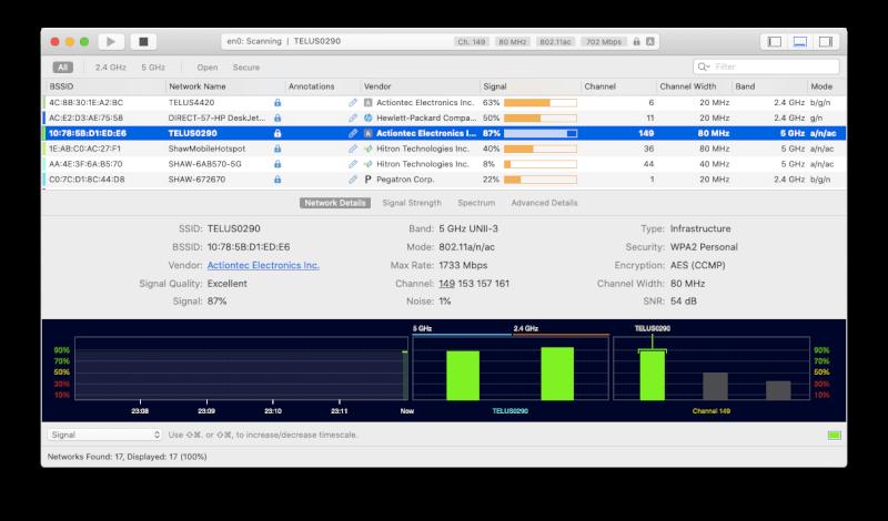 Ứng dụng WiFi Explorer trên Mac