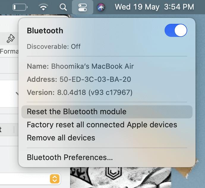 Nhấp vào Đặt lại mô-đun Bluetooth.  macOS Big Sur Sự cố