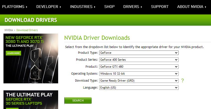 Bây giờ, hãy truy cập trang web của nhà sản xuất và tải xuống phiên bản mới nhất của trình điều khiển card màn hình.