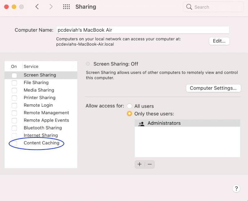 bộ nhớ đệm nội dung.  Sửa lỗi cài đặt macOS không thành công