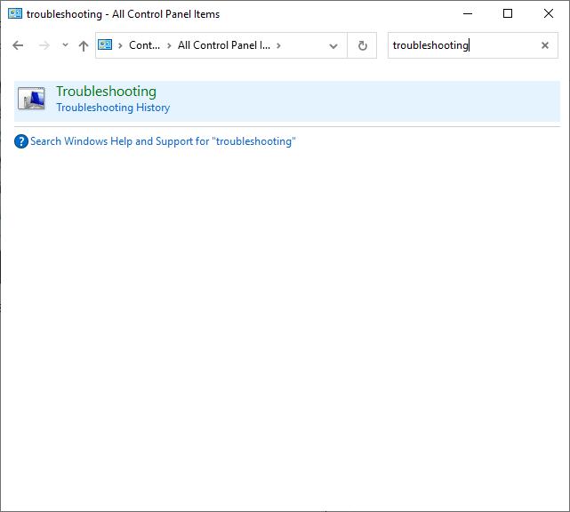 Bây giờ, hãy tìm kiếm tùy chọn Khắc phục sự cố bằng menu tìm kiếm.  Cách sửa mã lỗi 0x80004005
